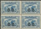 Australia KGV SGO124 1931 3d Kingford Smith's World Flights block of 4 (AOG/639)